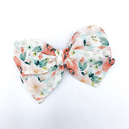 Mini Tiger Lily Floral Gauze Bow