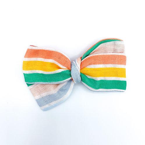 Retro Summer Stripe Gauze Bow