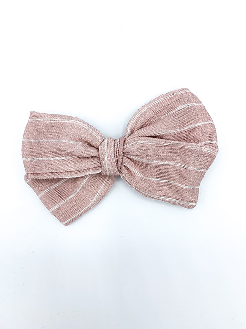 Blush Stripe Gauze Bow