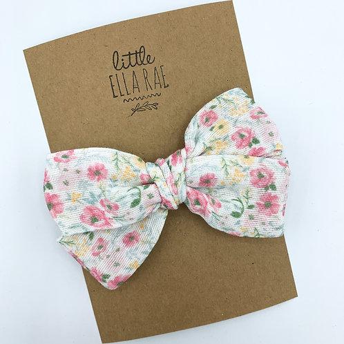 Mini Pastel Meadow Floral Gauze Bow
