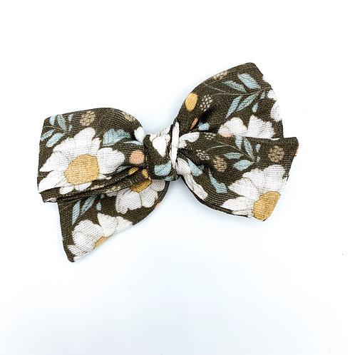 Vintage Chocolate Floral Gauze Bow
