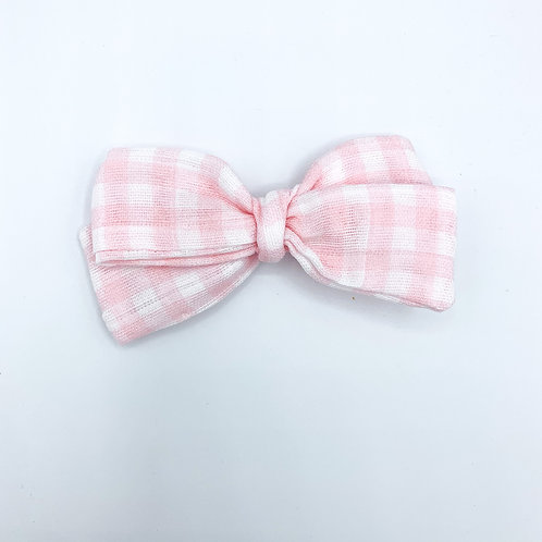 Baby Pink Gingham Gauze Bow
