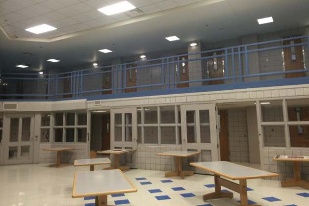 the common area of a cell block at the Arlington County Detention Facility