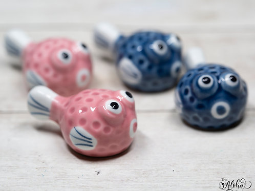 PUFFERFISH brushrest / pink or blue / ceramic