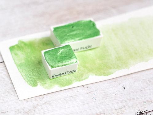 GREEN FLASH light green shimmer watercolor