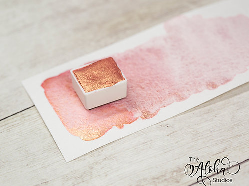 SUNSET duochrome glitter paint / peachy rose gold handmade watercolor