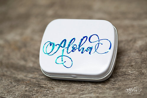 White tin with blue holo Aloha decal (for 6 half pans)