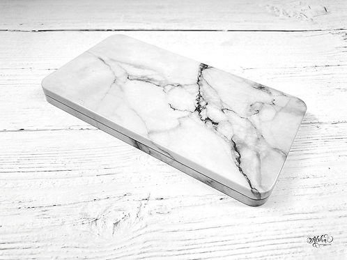 Marble design tin / Empty watercolor travel tin for 40 half pans