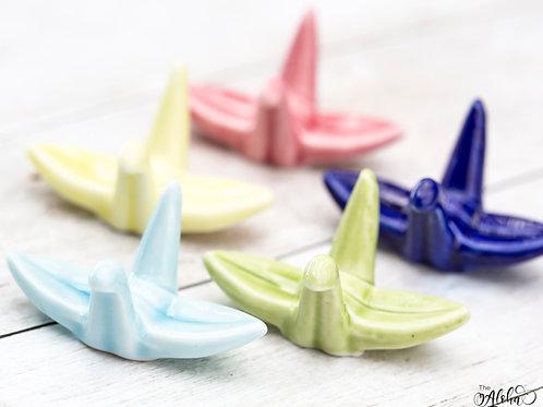 Brushrest crane / cute ceramic origami style bird in different colors