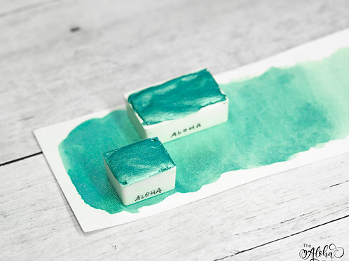 ALOHA turquoise metallic paint / honey based watercolor handmade in Hawaii