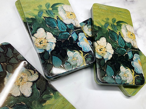 Canvas flowers tin with minor dents/scratches
