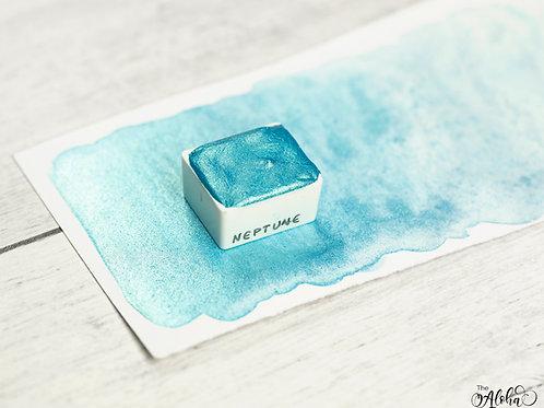 NEPTUNE turquoise metallic paint / honey based glitter watercolor / handmade in