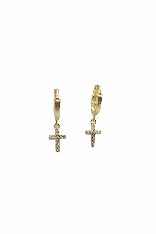 Κρεμαστά σκουλαρίκια επιχρυσωμένα σταυρός με πέτρες