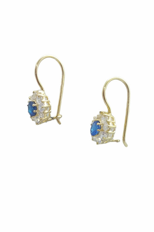 Γυναικεία σκουλαρίκια επιχρυσωμένα μπλε ροζέτα