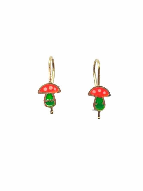 Παιδικά χρυσά σκουλαρίκια κρεμαστά μανιτάρια