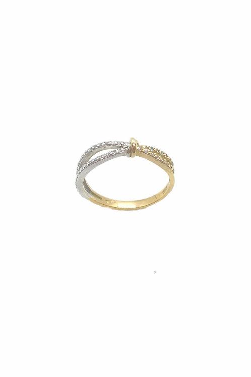 Γυναικείο χρυσό δαχτυλίδι Κ14 δίχρωμο με πέτρες