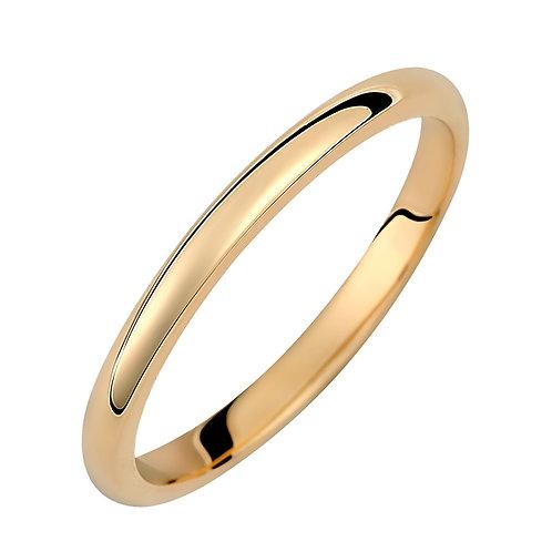 Χρυσή βέρα Κ14 μπουλ απλή 2mm
