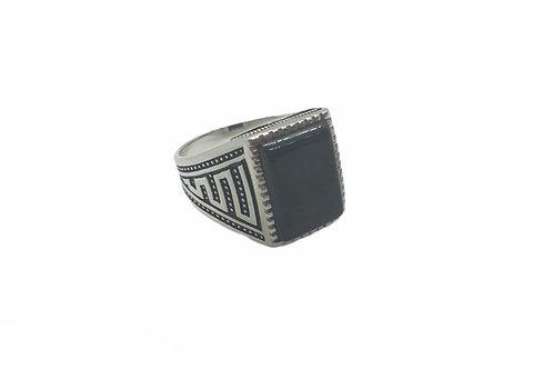 Ανδρικό δαχτυλίδι signet ring ασημένμε πέτρα όνυχα