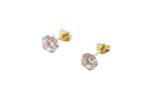Χρυσά σκουλαρίκια Κ14 μονόπετρα με πέτρα ζιργκόν