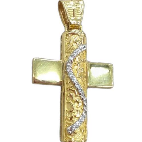 Χρυσός σταυρός γυναικείος βάπτισης ή αρραβώνα