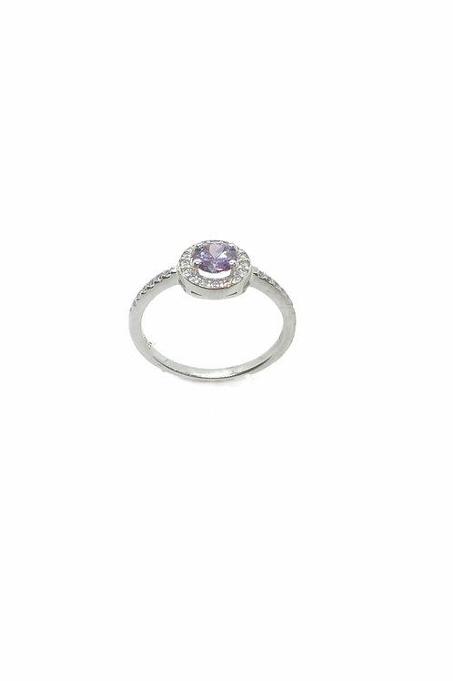 Γυναικείο λευκόχρυσο δαχτυλίδι ροζέτα με μωβ πέτρα