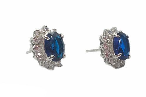 Σκουλαρίκια ασημένια ροζέτα με μπλε πέτρα