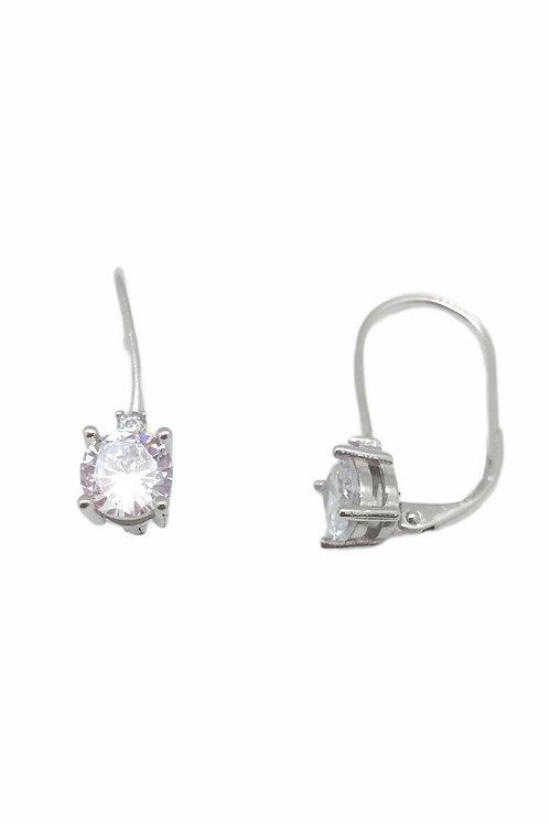 Μονόπετρα κρεμαστά σκουλαρίκια ασημένια