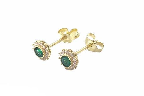 Χρυσά σκουλαρίκια ροζέτες με πέτρες
