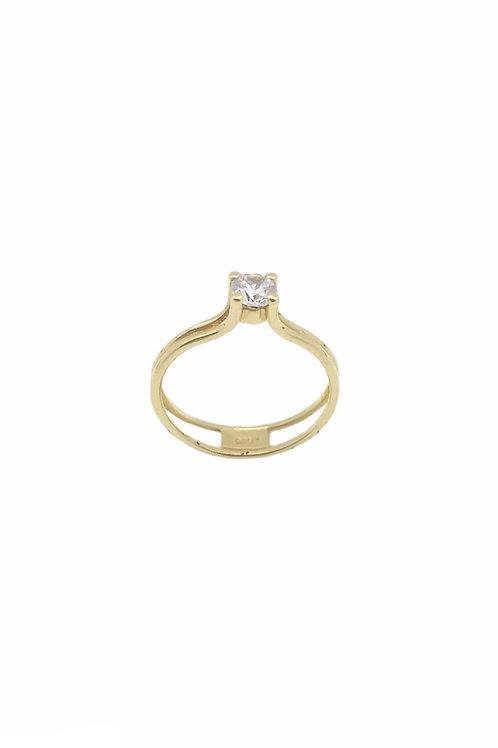 Μονόπετρο δαχτυλίδι χρυσό Κ14