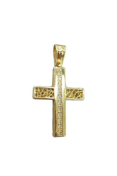 Χρυσός γυναικείος σταυρός αρραβώνα ή βάπτισης