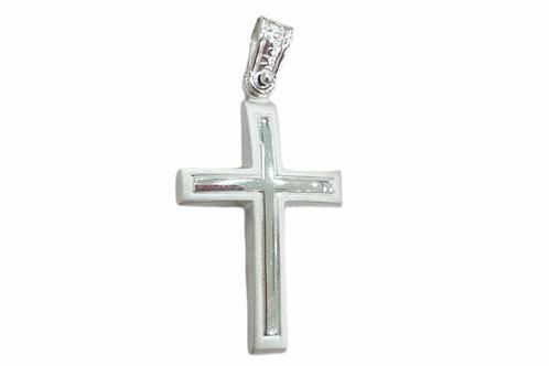 Λευκόχρυσος σταυρός βάπτισης ή αρραβώνα