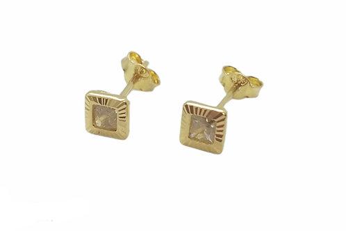 Χρυσά Κ14 γυναικεία σκουλαρίκια καρφωτά με πέτρα