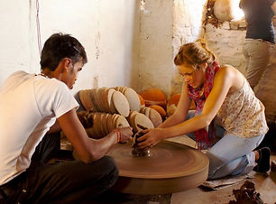 A guest tries her hand at pottery.jpg