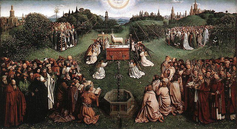Jan van Eyck, The Ghent Altarpiece - Adoration of the Lamb