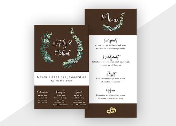 Uitnodiging & menukaart bruiloft