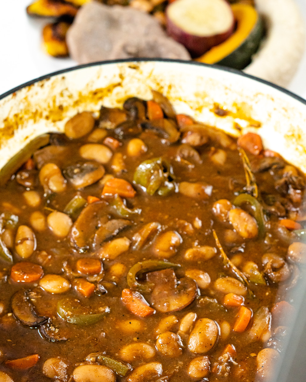Jamaican Brown Stew Mushrooms with Butter Beans