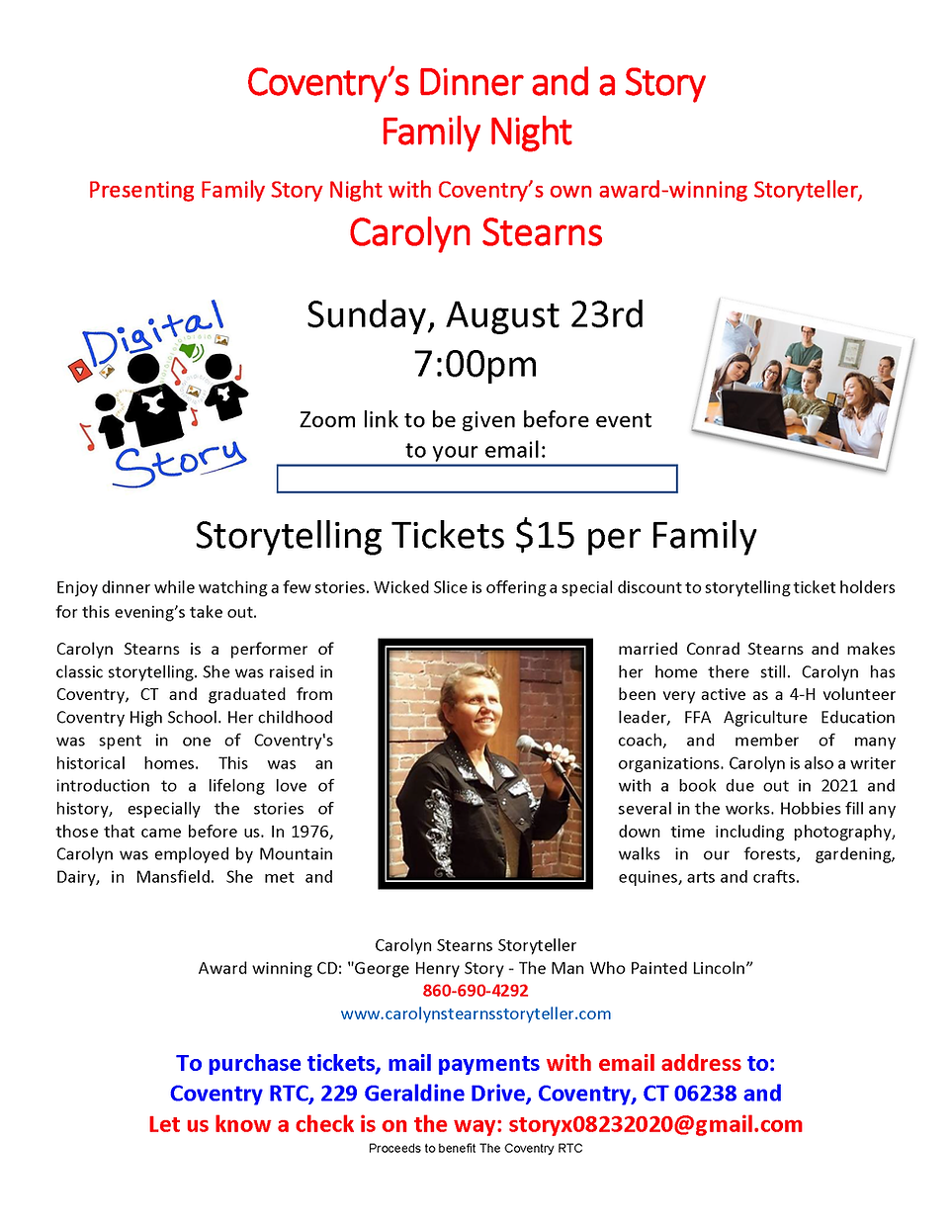 RTC Dinner and a Story Family Night  Aug