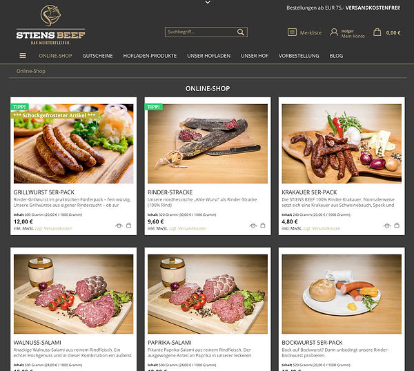 Stiens-Beef-Produkte im Online-Shop