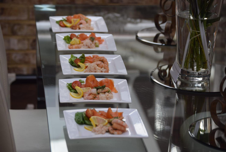 Smoked salmon and prawn starters