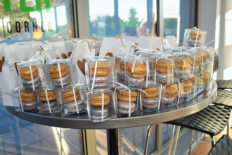 Gold and Silver macaroons in a gift box