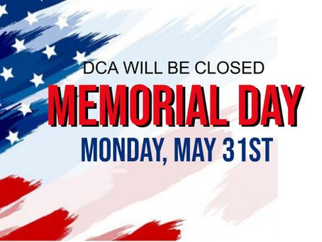 Closed Memorial Day!