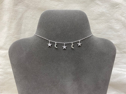 Moon-star necklace (#N098)