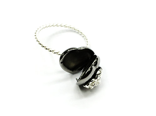 Love Me Ring Blk Rhodium