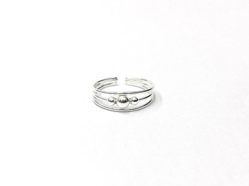 3-big/small ball on 3-wire toe ring (#7321-25)