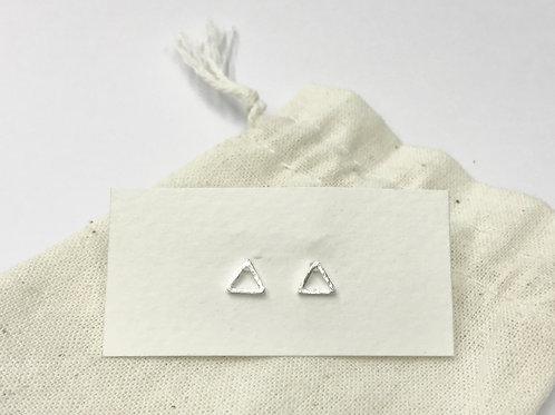 Open satin triangle ear stud (#A0995E)