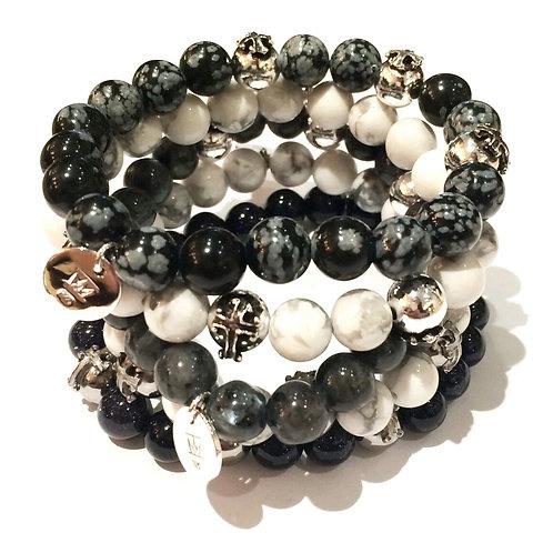 Triple Cross Beads on Stone Stretch Bracelet