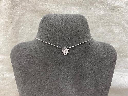 14mm mandala filigree flower necklace (#A1327N)