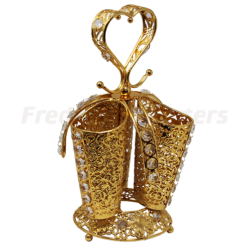 Spoon Holder - Heart Gold Plated Three Tube Holder