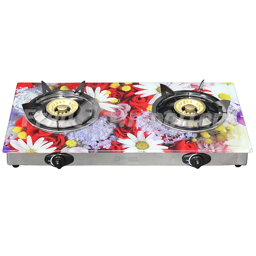 Glass Top Double Burner Gas Stove (Daisies)