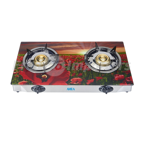 Tempered Glass Double Burner (Flowers)